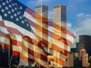 911 Flag against Twin Towers