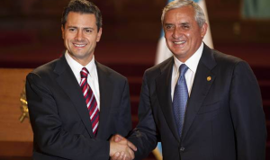 Mexico and Guatemala Presidents Shaking Hands