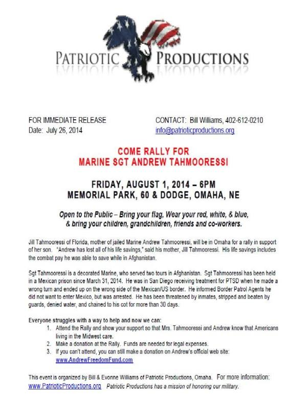 Omaha Rally Tahmooressi 8 1 2014 Press Release