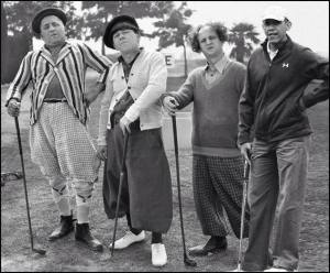 Obama golfing with Larry, Moe Curly