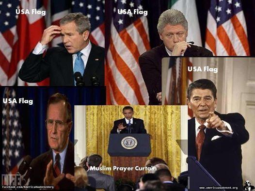 Pres w Flag BO w Muslim Prayer Curtain