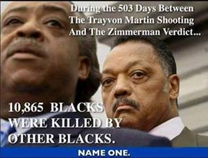 during the days of trayvone trials 10, 085 blacks murdered by blacks